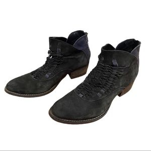 Rebels Cori Black Blue Suede Woven Ankle Booties